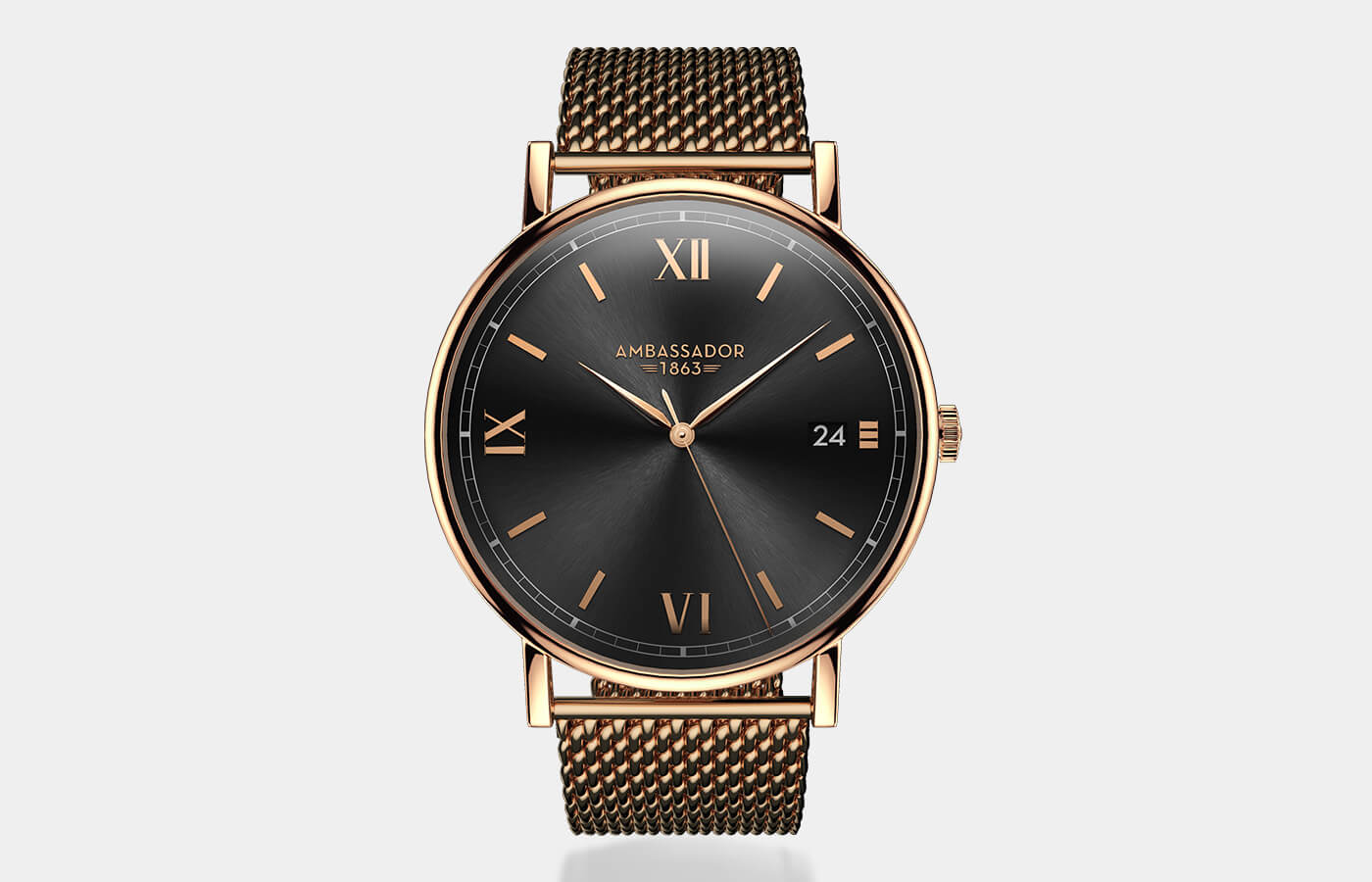 Mens Slim Gold Watch