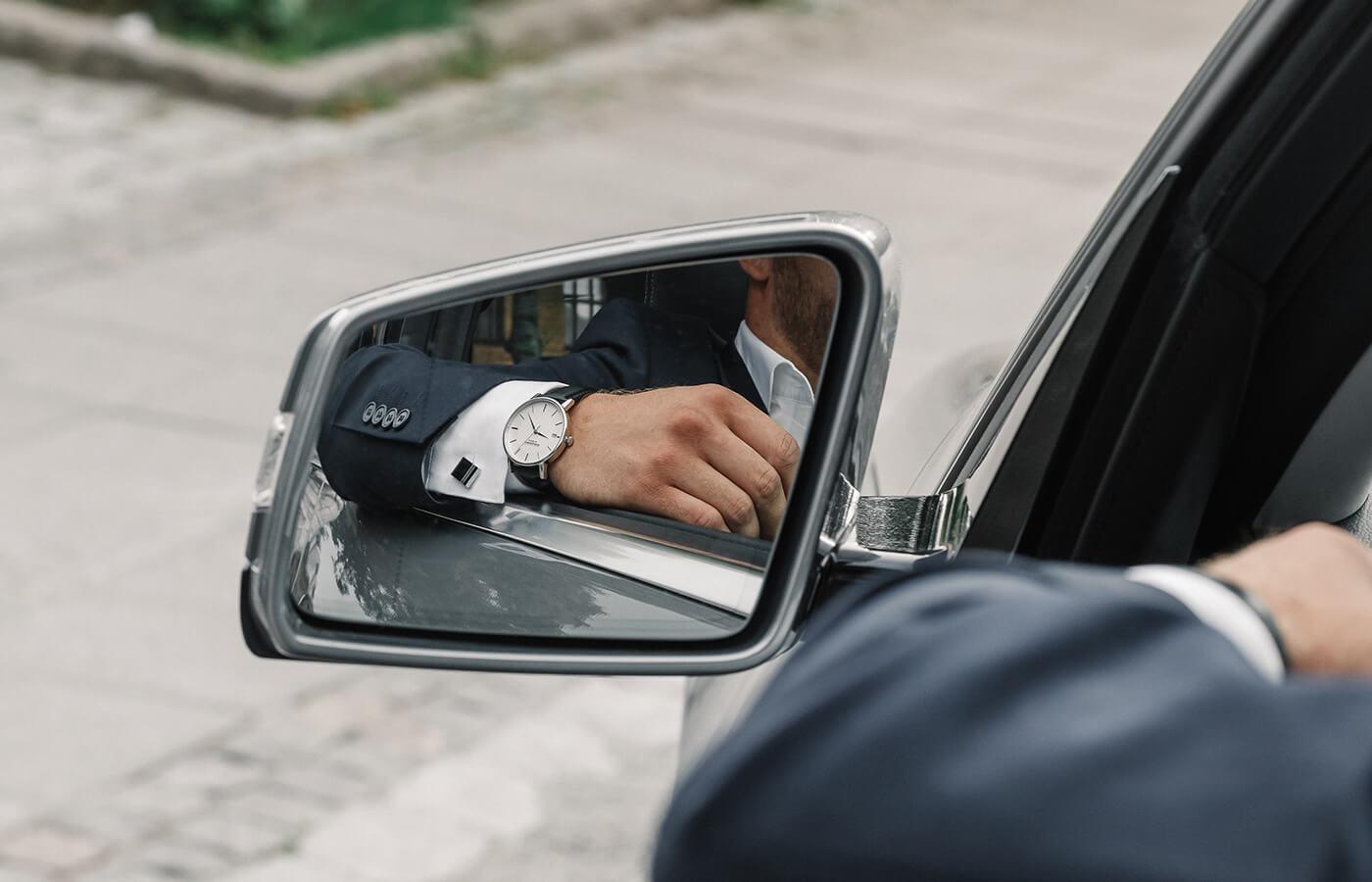mens silver black watch