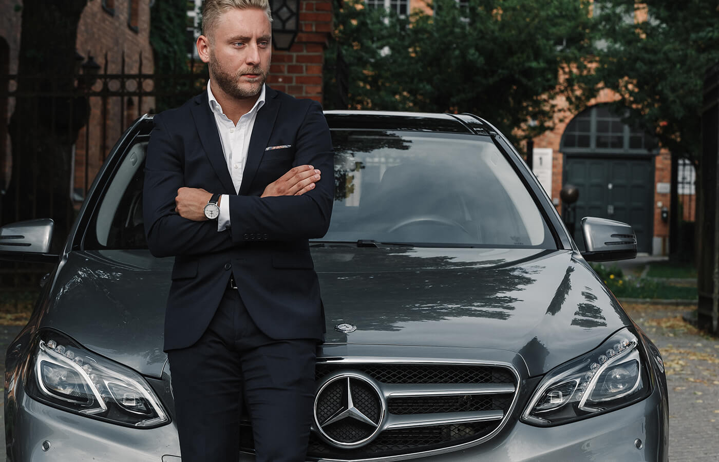 luxury man near car